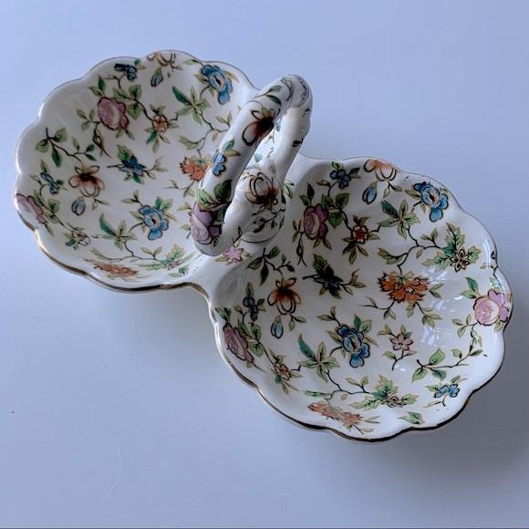 Vintage Floral Jewelry Trinket Dish Home Decor